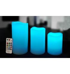 VELA LED RGB CON MANDO SET DE 3