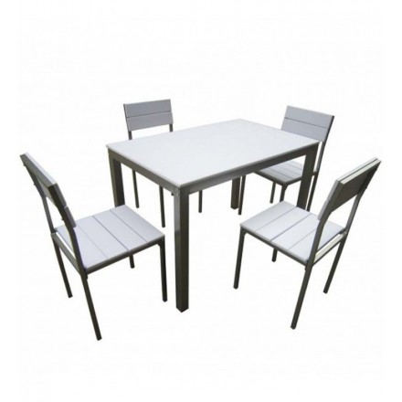Set Mesa Xobe + 4 Sillas Blanco